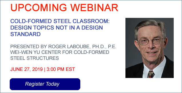 Webinar on Cold‐Formed Steel Classroom: Design Topics not in a Design Standard